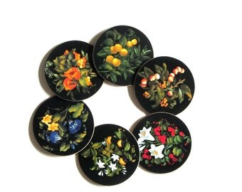 Coasters Fruit and Flowers Cloverleaf Table Mat Set Red Yellow Blue Marchionni DesignTraditional Made in United Kingdom