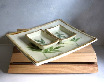 Ceramic Bamboo Leaves Sushi Sashimi Platter and Dipping Bowls Set Red Berry Green Leafed Dresser Plate Trinket Dishes