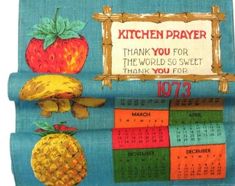 Turquoise Blue Fruits Vegetables Kitchen Towel Theme Linen Calendar Towel Dated 1973 Prayer Retro Kitchen Decor
