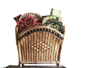 Wicker Magazine Stand Natural Woven Storage Basket With Handles Beach Cottage Decor Decorative Home Storage