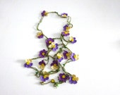 Crochet  Lariat Necklace,spring,summer colors,beaded necklaces,christmas gift,christmas,turkish oya necklace