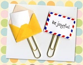 Be Joyful Planner Clip (Sold Individually) - Planner Clip - Gift Tag - Pocket Letter Clip - Tiny Envelope - Snail Mail Paperclip