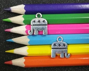 2 PCS - Political Republican Elephant Silver Charm Pendant C1340