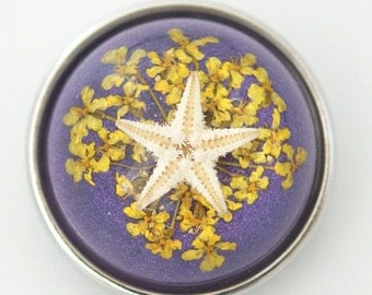 1 PC 18MM Purple Starfish Set in Glass Silver Candy Snap Charm kg6012 CC1129