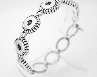"""1 Silver Bracelet - 6"""" Fits 12MM Candy Snap Charm kb0344-s CJ0187"""
