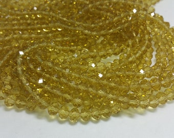 1 Bead Strand - 4x6mm Yellow Rondelle Glass Crystal Beads BD0008
