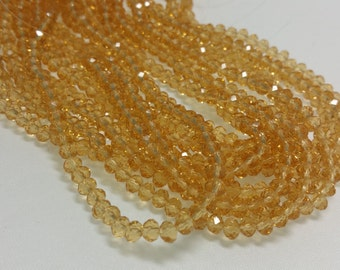 1 Bead Strand - 3x4mm Yellow Rondelle Glass Crystal BD0023