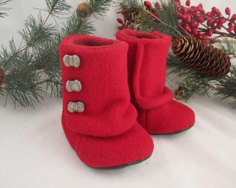 Toddler red wool three button Boots size 9-12 mos. fleece-lined RTS