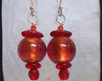 Orange and Red Glass Earrings