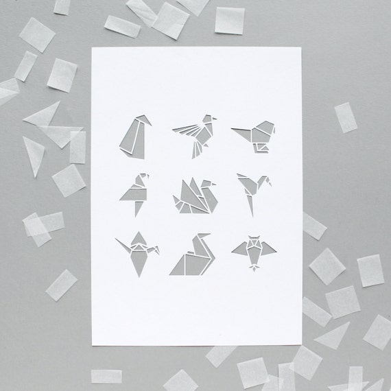White origami bird A4 papercut