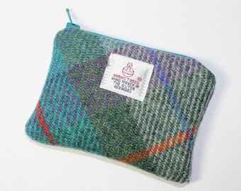Harris Tweed purse, coin purse, change purse, teal/purple/emerald