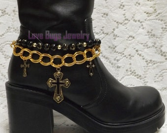 Black and Gold Boot Jewelry, Boot Bracelet, Boot Bling, Boot Jewelry, Cowgirl Boot Bling, Boot Band Bracelet