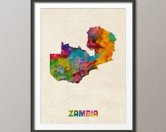 Zambia Watercolor Map, Art Print (2146)