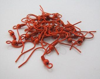 Orange Earring Wires, 20 Ear Wires, Earring Findings Earring Hooks, U.S Seller - ew077