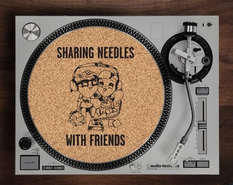 Turntable Slipmat - Sharing Needles With Friends Podcast engraved Cork turntable slipmat with optional Reversable fabric Back