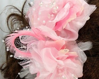 Bridal Hair Clips, Set of 2, Pink Floral Clips, Hair Accessories