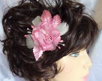 Dusty Rose Flower, Wedding Hair Clip, Dusty Rose Fascinator, Bridal Hair Accessory, REX16-381