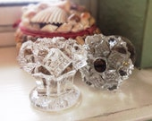 2 Antique Pressed Glass Drawer Knobs, Flowers Pulls Authentic Heavy Treasures