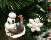 Sloth Building a Snowman - Holiday Ornament - Christmas Tree Ornament - Made to Order