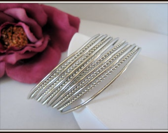 Silver Multi Strand Bracelet - Silver Tone Cuff