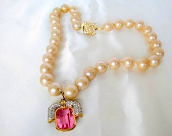 Pink Enhancer Necklace - Pearls Hand Knotted - Pink Pendant - Rhinestone Highlights