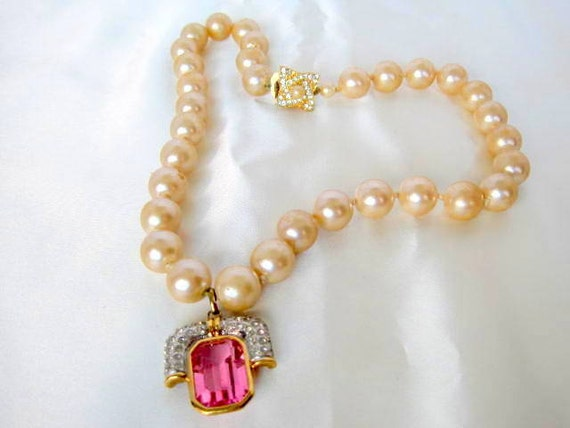 Pearl Enhancer Necklace -  Hand Knotted - Pink Pendant - Rhinestone Highlights