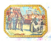 Vintage candy tin over 60 years old: Sweet Pascalls Chocolates tin with Queen Elizabeth and her greyhound visiting Drake's ship, Golden Hind