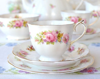 Classic Royal Albert tea set from 1940s: Chatsworth tea cup in Countess shape, saucer, plate, a lovely set to enjoy your special cup of tea