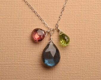 Labradorite Necklace, Pink Green Gemstone Necklace, Labradorite Pendant Necklace, Labradorite Sterling Silver Chain