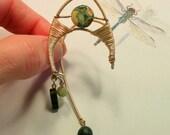 Wire Wrapped Ear Cuff -- Snakeskin Jasper Ear Cuff -- Beaded Ear Wrap