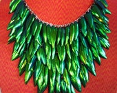Versatility Necklace Natural Beetle Wing Green All 5 rows