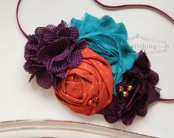 Plum Teal and Orange headband, purple headbands, newborn headbands, fall headbands, autumn headbands, photography prop
