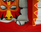 RED DRAGON Mask,Wings, and Tail Play Set, Dragon Costume, Kid Costume, Felt Animal Mask and Tail