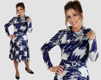 70s Dress Mod Fit and Flare Secretary Dress Disco R&K Originals