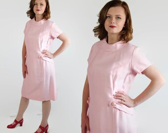 60s Dress, Mad Men, Pink, Vintage Wedding, Rhinestone Buttons, Party Dress