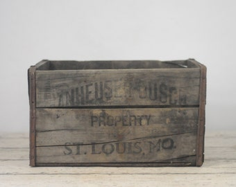 Wood Beer Crate/Box Antique Anheuser Busch Wood Crate