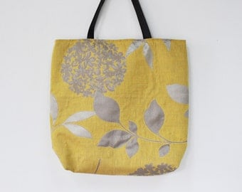 yellow bag with leather handles