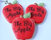 The Big Apple Decorated Cookies, NYC Cookies, I love NY, The Big Apple, New York gifts, Decorated Cookies, New York Themed Cookies