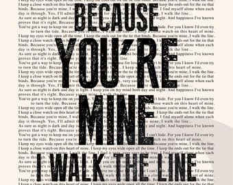 Walk the Line Book Page - Johnny Cash Lyrics Typography Print