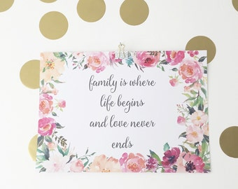 Family is Where Life Begins and Love Never Ends Print - A3 Print