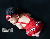 Newborn Photo Prop - Race Car Driver Set -Backwards Cap and Overalls-Littlest All Star - Baby Boy - Newborn Boy