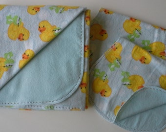 Hemstitched Flannel Baby Blanket Gift Set; Includes Flannel Receiving Blanket, & Burp Cloths - Rubber Duckies and Frogs w/Aqua Back