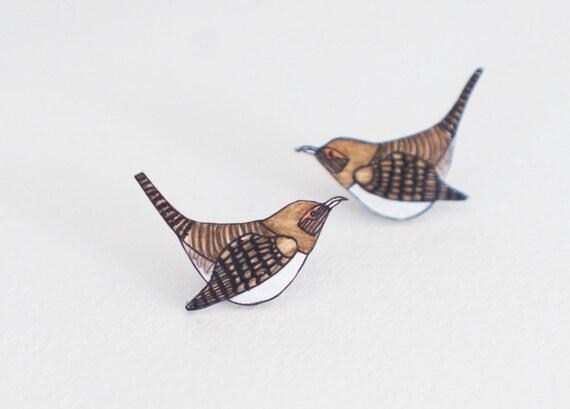 House Wren Earrings | Bird | Songbird | Woodland | Wearable Art | Studs or Dangle Earrings