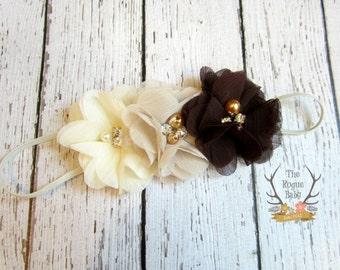 Fall Headband - Cream Tan Brown - Pearl Rhinestones -  Baby Headband - Newborn Headband - Cream Headband - Brown Headband - Ombre Headband