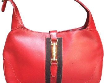 "Gucci Iconic Red Leather Jackie ""O"" Piston Handbag"