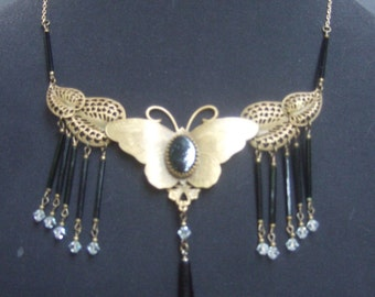 Exquisite Brass Jet Glass Butterfly Necklace
