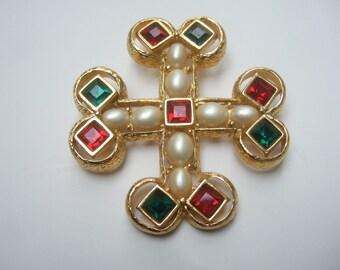 Elegant Crystal & Glass Pearl Cross Brooch