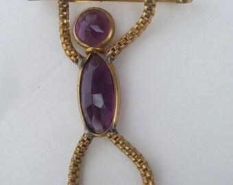 Charming Hanging Crystal Figural Brooch