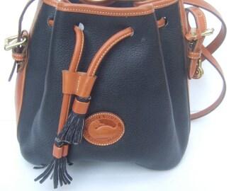 DOONEY & BOURKE Black Pebble Leather Brown Trim Shoulder Bag (Genuine)