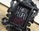 Mini Black Baroque Framed Cross Stitch - I Hate People